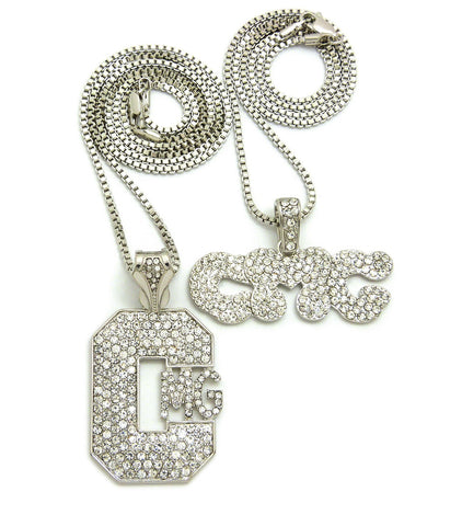 "Stone Stud Hip Hop CMG Record Label Initials Pendant Set with 2mm 24"" & 30"" Box Chain Necklaces"