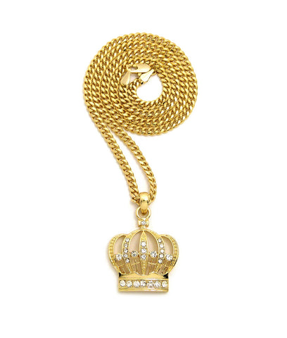 "Stone Stud Hollow Royal Crown Pendant with 3mm 24"" Cuban Chain Necklace, Gold-Tone"
