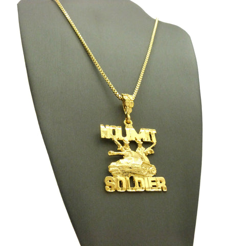 Polished No Limit Soldier Tank Pendant w/ Gold-Tone Box Chain