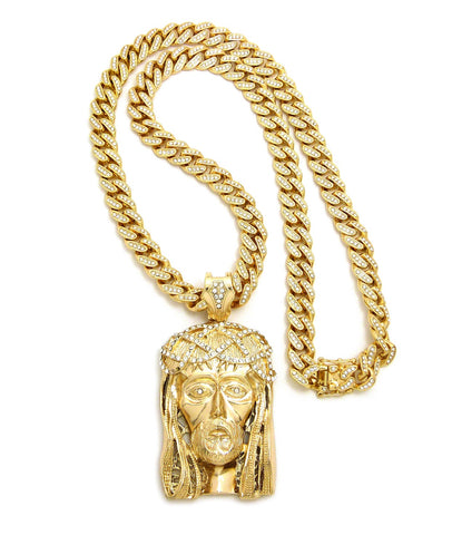 "Crown of Thorns Jesus Head Pendant with 12mm 30"" Iced Out Cuban Chain Necklace in Gold-Tone"