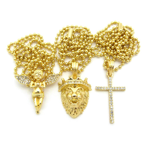 Praying Angel, King Lion, & Single Row Cross Pendant Set w/ Gold-Tone Ball Chain Necklaces