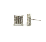 4 Stone Row Concave Square Shape Stud Pierced Earrings, Silver-Tone
