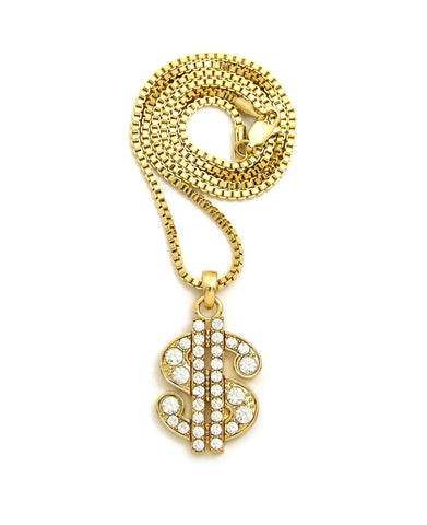 "Stone Stud Dollar Sign Micro Pendant with 2mm 24"" Box Chain Necklace, Gold-Tone"