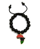 Pan Africa Continent Charm with 12mm Adjustable Wooden Bead Macrame Bracelet