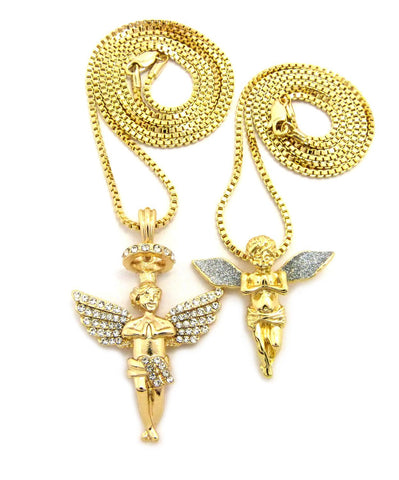 "Silver-Tone Dusted Wing Praying Angel & Stone Stud Halo Angel Pendant Set w/ 24"" & 30"" Box Chains in Gold-Tone"