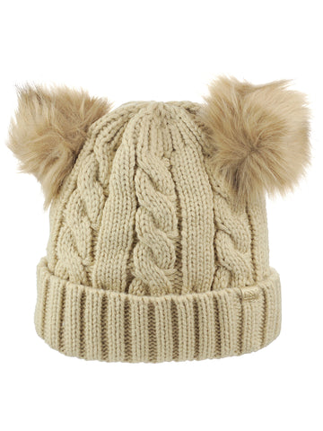 D&Y Warm Cable Knit Beanie With Double Pompom & Sherpa Lining