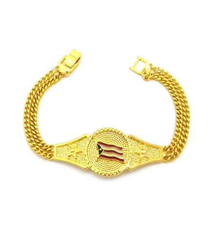 Puerto Rico Flag Dual Link Chain Bracelet with Box Clasp in Gold-Tone