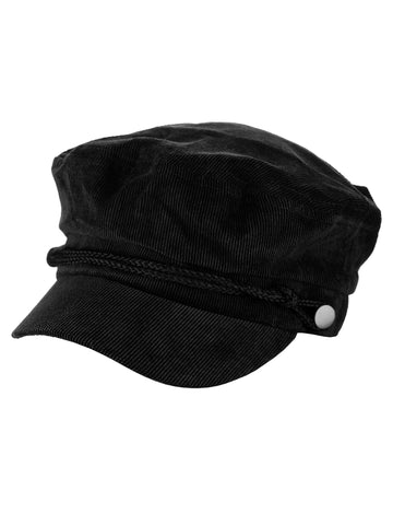 fd854d21034 D Y Solid Corduroy With Rope Detailed Fisherman Cabbie Newsboy Cap