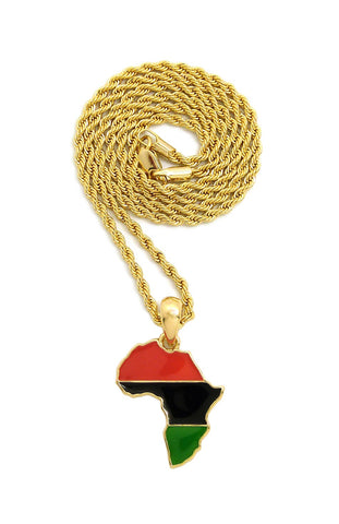 "Pan Africa Continent Micro Pendant with 2mm 24"" Rope Chain Necklace, Gold-Tone"