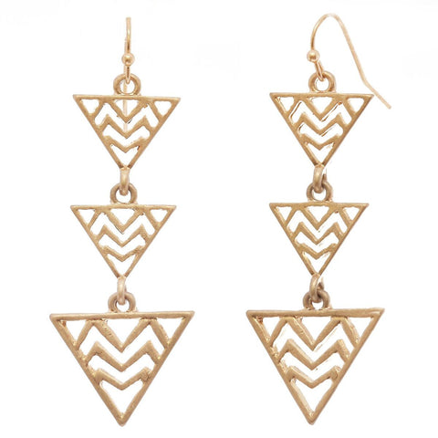 Women's Triple Zigzag Triangle Metal Dangle Pierced Earrings
