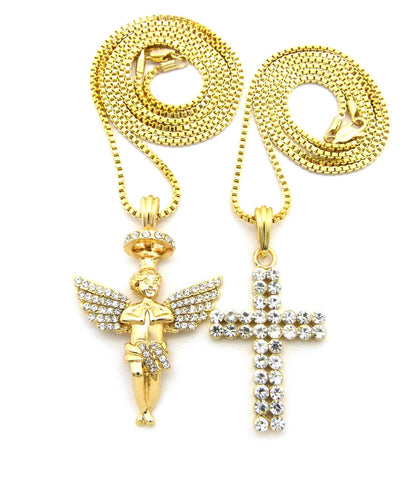 "2 Row Stone Cross & Stone Stud Halo Angel Pendant Set w/ 24"" & 30"" Box Chain Necklaces in Gold-Tone"