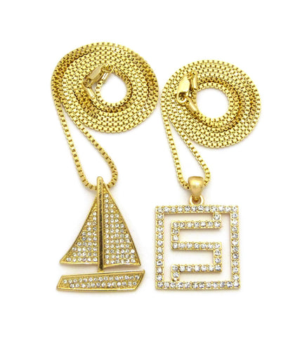 Stone Stud Sailboat & Stone Stud Maze Pendant Set w/ Box Chain Necklaces, Gold-Tone