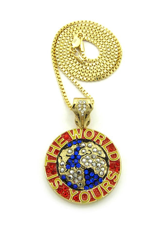 Color Stone Stud The World is Yours Pendant with Chain Necklace