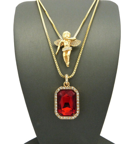 "Micro Faux Ruby & Pave Floating Angel Pendant 2mm 24"" 30"" Box Chain Necklace Set - Gold-Tone"