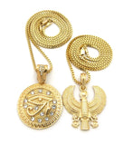 Polished Horus Falcon & Eye of Horus Stone Stud Medal Pendant Set 2mm Box Chain Necklaces in Gold-Tone