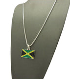 Flag of Jamaica Micro Pendant with Chain Necklace