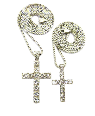 Stone Stud Single Row Cross Pendant Set w/Box Chain Necklaces