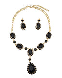 Hanging Encircled Teardrop Black Stone and Dangling Earrings Set in Gold-Tone