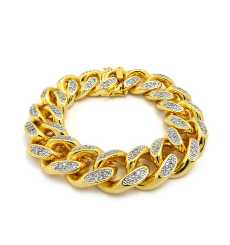 "19mm 8.5"" Men's Gold Plated Brass Cubic Zirconia Stone Bracelet with Box Clasp"