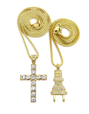 Stone Stud Male Power Plug & Single Row Cross Pendant Set w/Box Chain Necklaces, Gold-Tone