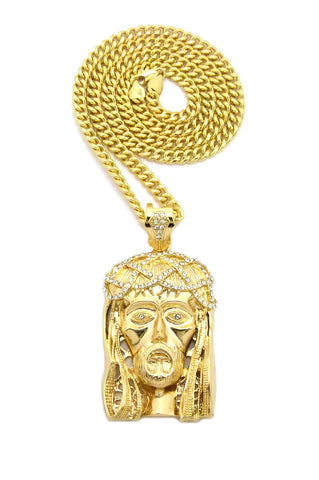 "Stone Stud Woven Crown of Thorns Jesus Head Pendant w/6mm 30"" Cuban Chain Necklace, Gold-Tone"