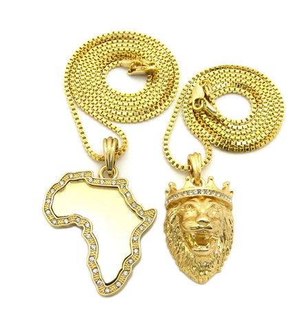 "Africa Mirror Pendant Set w/ 2mm 24"" & 30"" Box Chain Necklace in Gold-Tone"