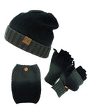 NYfashion101 Exclusive 3 Piece Two Tone Boot Cuff, Beanie & Mitten Set