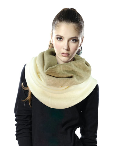 Exclusive Two Tone Winter Pullover Loop Cowl Tube Scarf