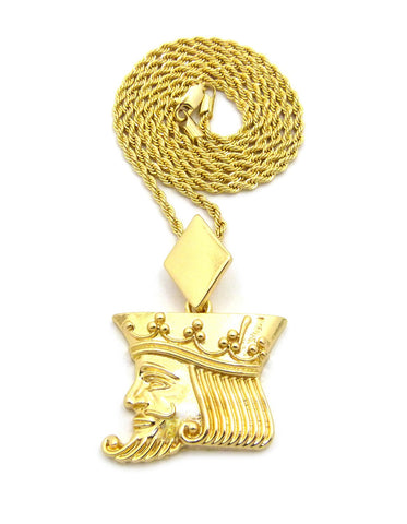 "Polished Poker King pendant w/2mm 24"" Rope Chain Necklace"