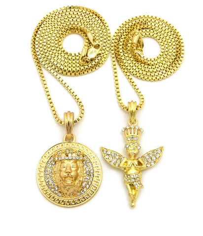 Crowned Praying Angel & King Lion Medallion Pendant Set w/ Gold-Tone Box Chain Necklaces