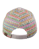 C.C Multicolored Paper Straw Weaved Adjustable Precurved Baseball Cap Hat