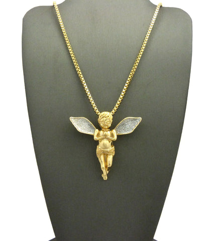 Dusted Extended Wing Pray Angel Pendant w/ Chain Necklace