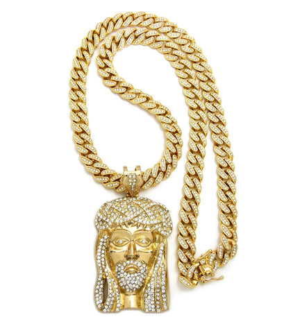 "Stone Stud Jesus Face Pendant with 12mm 30"" Iced Out Cuban Chain Necklace in Gold-Tone"