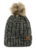 C.C Thick Cable Knit Faux Fuzzy Fur Pom Fleece Lined Skull Cap Cuff Beanie