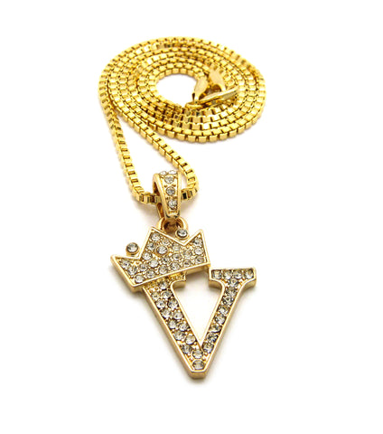 NYFASHION101 Stone Stud Tilted Crown Initial Micro Pendant with 2mm 24 Box Chain Necklace