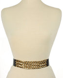 Women's Triple Row Gold-Tone Chain Link Chain Elastic Stretch Waist Belt