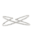 Women's Single Row Rhinestone Criss Cross Cuff Bracelet in Silver-Tone