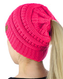 C.C BeanieTail Soft Stretch Cable Knit Messy High Bun Ponytail Beanie Hat