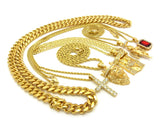 Hip-Hop Jewelry 5 Piece Pendant Set w/ Various Chain Necklaces in Gold-Tone