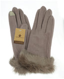 NYfashion101 Exclusive Women's Faux Fur Trim Touchscreen Compatible Winter Gloves