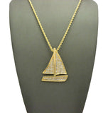 "Stone Stud Sailboat Pendant w/2mm 24"" Rope Chain Necklace"