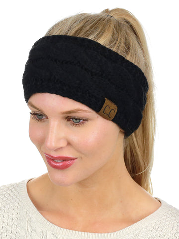 C.C Soft Stretch Winter Warm Cable Knit Fuzzy Lined Ear Warmer Headband