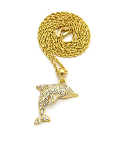 Stone Stud Diving Dolphin Pendant w/ Chain Necklace, Gold-Tone