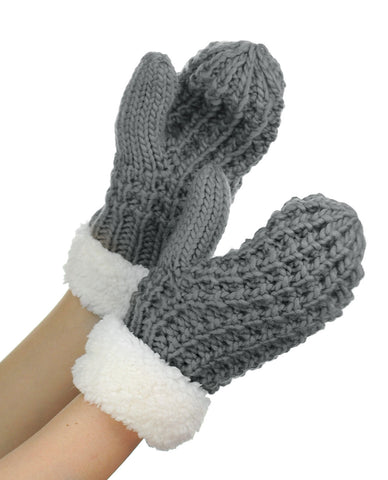 NYfashion101 Exclusive Thick Braided Cable Knit Winter Warm Cuff Mittens
