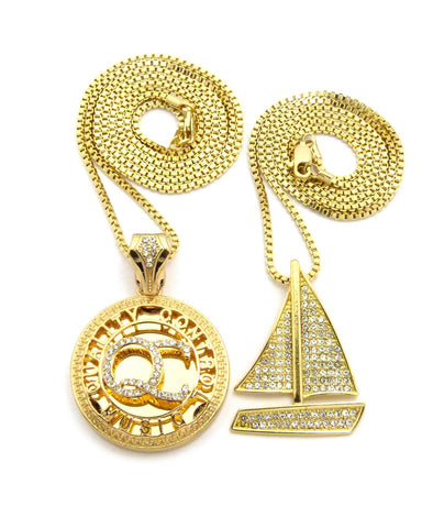 Stone Stud Sailboat & Micro Initials QC Pendant Set w/Box Chain Necklaces, Gold-Tone