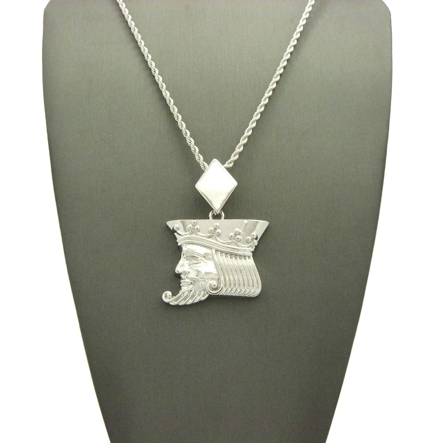 """Polished Poker King pendant w/2mm 24"""" Rope Chain Necklace"""