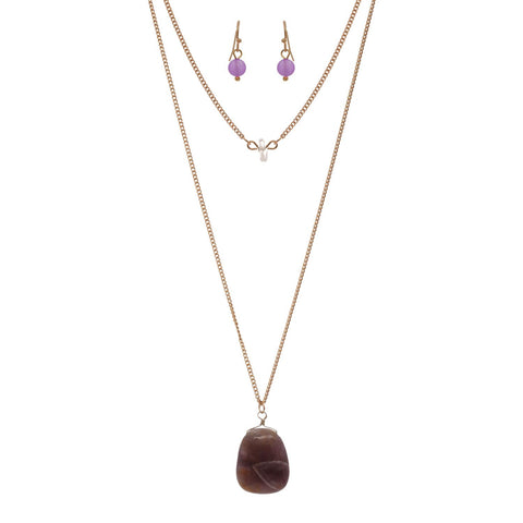 Women's Flat Oval Stone Pendant Necklace and Earrings Set