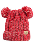 C.C Kids' Children's Cable Knit Double Ear Pom Cuffed Beanie Cap Hat