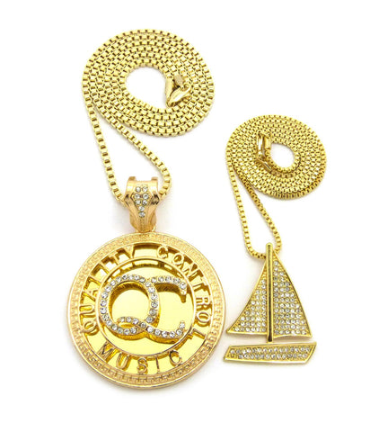 Stone Stud Sailboat & Initials QC Pendant Set w/Box Chain Necklaces, Gold-Tone