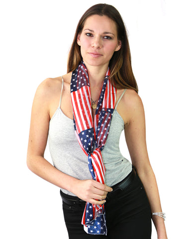 NYFASHION101 Women's Versatile American USA Flag Sheer Headwrap Scarf